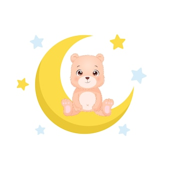 Simpatico orsetto seduto sulla luna crescente design piatto vettoriale dei cartoni animati cartoon