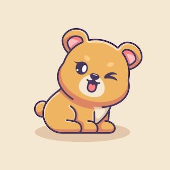 Simpatico orsetto seduto cartone animato