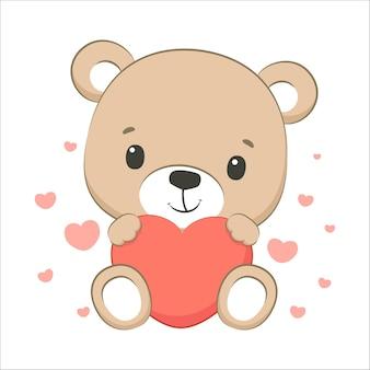 Simpatico orsetto con un cuore. fumetto illustrazione vettoriale.