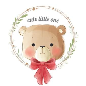 Simpatico orso bambino in ghirlanda