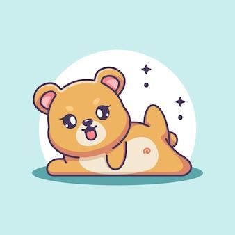 Fumetto sveglio di posa di yoga dell'orso del bambino