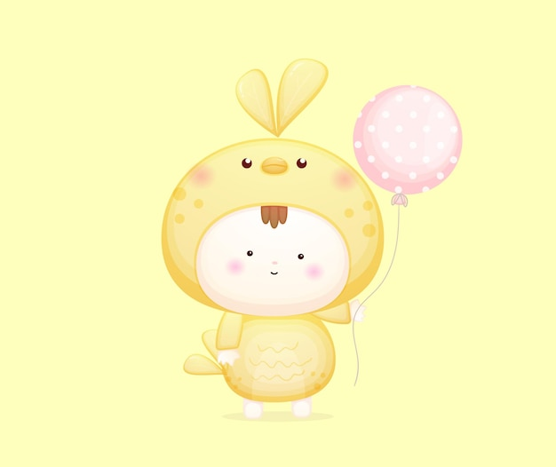 Bambino carino in costume da uccello con palloncino vettore premium