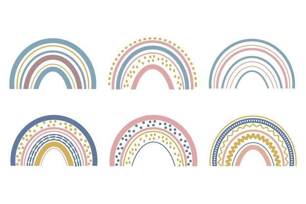 Cute baby boho arcobaleno incastonato in una bella decorazione in stile scandinavo isolato su bianco