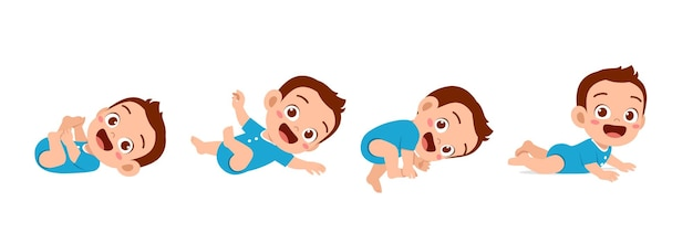Neonato sveglio nel set di avanzamento del ciclo di crescita