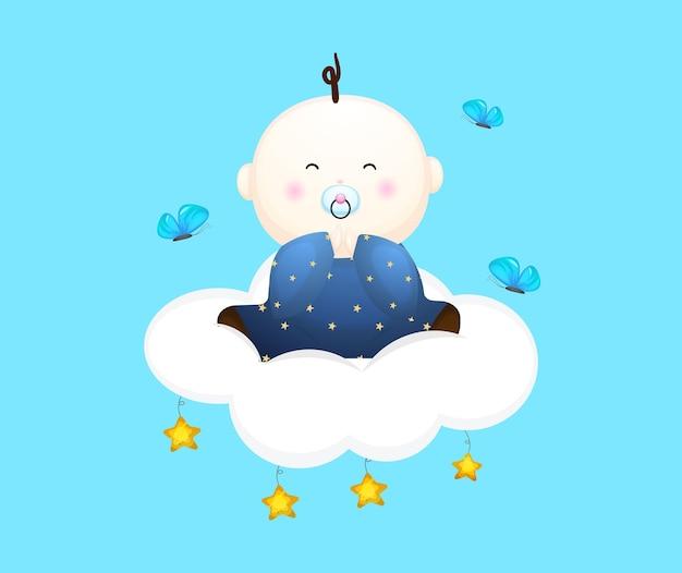 Il neonato sveglio si siede sul personaggio dei cartoni animati della nuvola illustrazione del concetto di bambino vettore premium
