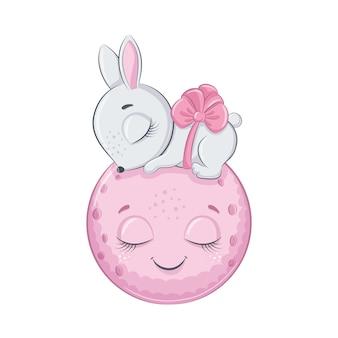 Il coniglietto sveglio del bambino sta dormendo sulla luna