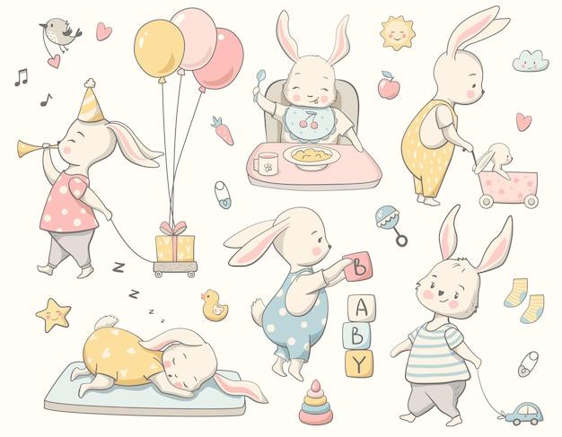 Simpatico set di coniglietti, collezione di piccoli conigli. perfetto per poster per bambini, baby shower, biglietti di auguri, etichette, inviti, abbigliamento per bambini, kit di adesivi. illustrazione vettoriale disegnato a mano.