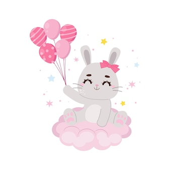 Simpatico coniglietto seduto su una nuvola e tenendo palloncini design piatto vettoriale dei cartoni animati
