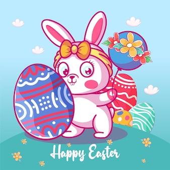 Coniglietto sveglio del bambino con l'uovo di pasqua e l'illustrazione del palloncino