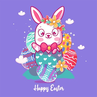 Coniglietto sveglio del bambino con l'illustrazione dell'uovo di pasqua