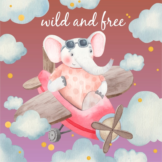 Scheda sveglia del bambino, animale sugli aeroplani tra le nuvole, elefante nel cielo, illustrazione per bambini in acquerello