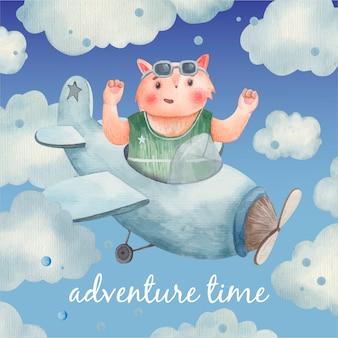 Scheda sveglia del bambino, animale sugli aeroplani tra le nuvole, volpe nel cielo, illustrazione per bambini in acquerello
