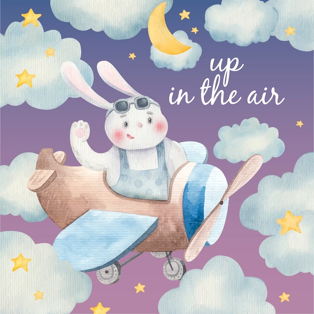 Scheda sveglia del bambino, animale sugli aeroplani tra le nuvole, lepre, coniglio nel cielo, illustrazione per bambini in acquerello