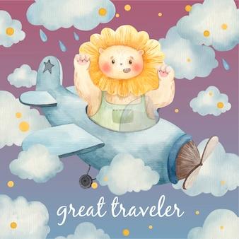 Scheda sveglia del bambino, animale sugli aeroplani tra le nuvole, leone nel cielo, illustrazione per bambini in acquerello