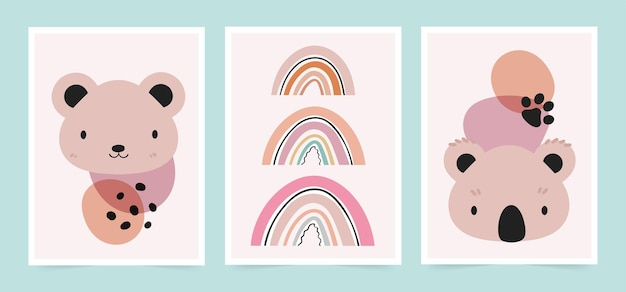 Simpatici baby card in stile scandinavo. set di orso, illustrazione di koala.