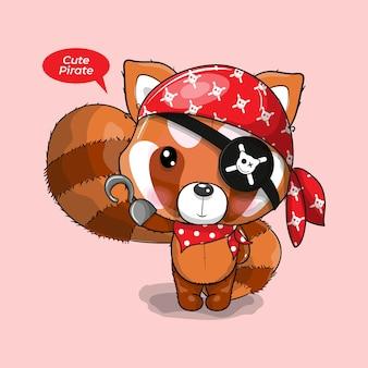 Simpatico panda rosso cartone animato in costume da pirata