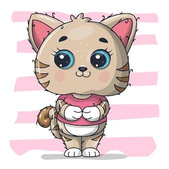Illustrazione sveglia del fumetto del gatto del bambino