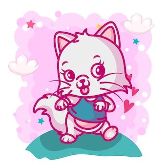 Simpatico cartone animato gatto per bambini