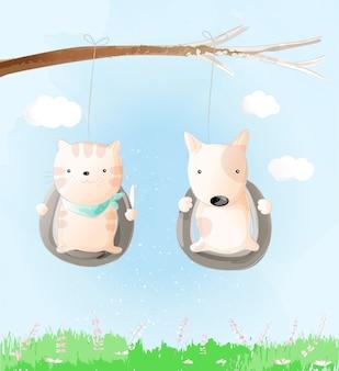 Stile sveglio dell'acquerello del gatto e del cane del bambino