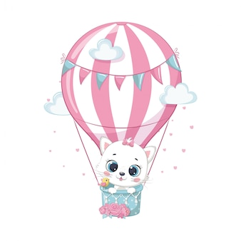 Gatto sveglio del bambino su una mongolfiera. illustrazione per baby shower, biglietto di auguri, invito a una festa, stampa di t-shirt vestiti di moda.