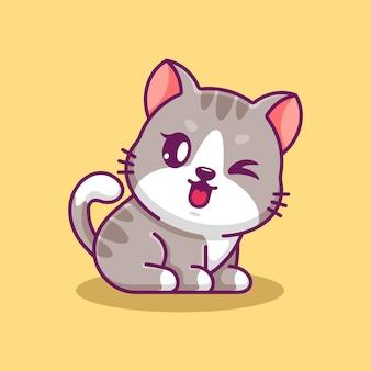 Simpatico gatto seduto cartone animato