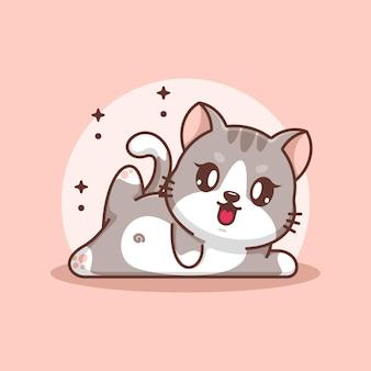 Fumetto sveglio di posa di yoga del gatto del bambino