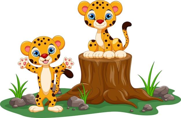 Simpatico cartone animato ghepardo baby