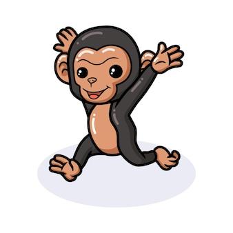 Simpatico cartone animato di scimpanzé in esecuzione