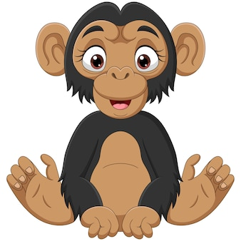 Seduta sveglia del fumetto dello scimpanzé del bambino