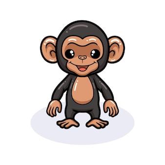 Cartone animato carino scimpanzé in piedi