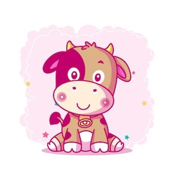 Simpatico cartone animato di mucca per bambini