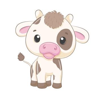 Illustrazione sveglia di stile del fumetto della mucca del bambino
