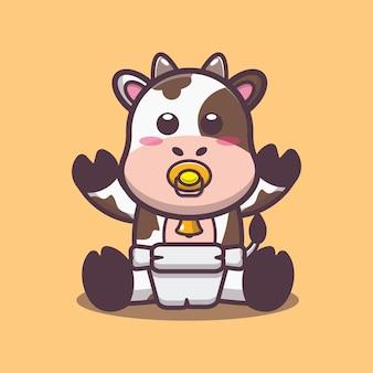 Illustrazione vettoriale di cartone animato carino mucca bambino