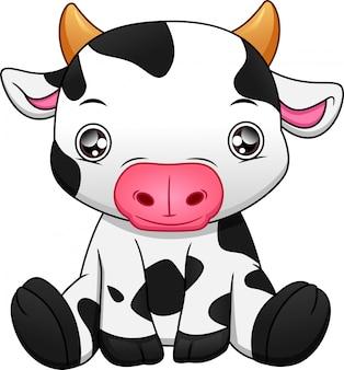 Cartone animato carino mucca bambino su sfondo bianco