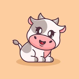 Simpatico cartone animato di mucca che si siede