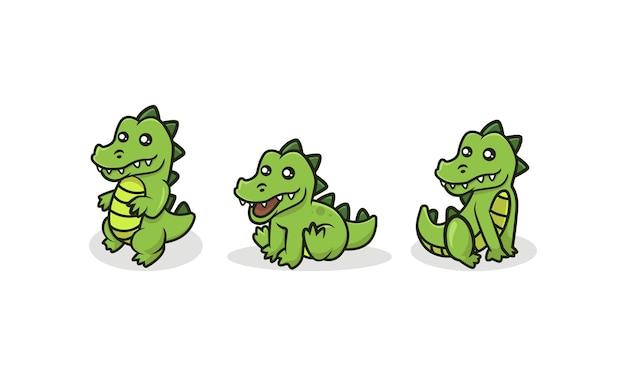 Simpatico set di illustrazioni per mascotte di coccodrillo per bambini