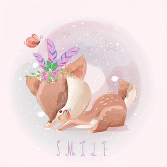 Disegnato a mano sveglio dei cervi del bambino nello stile dolce dell'acquerello.