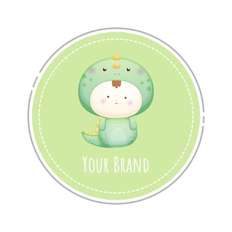 Bambino carino nel logo del costume da dinosauro vettore premium
