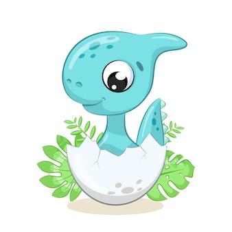 Illustrazione sveglia del dinosauro del bambino. illustrazione per baby shower, biglietto di auguri, invito a una festa, stampa di t-shirt vestiti di moda.