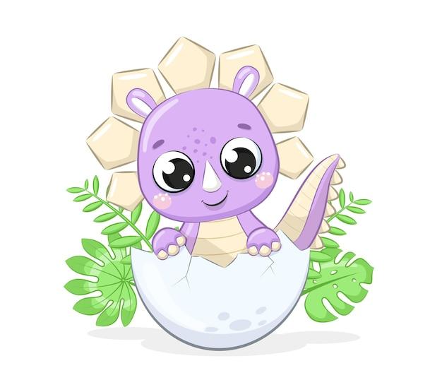 Cute baby dinosaur illustration illustrazione vettoriale per baby shower biglietto di auguri invito a una festa vestiti di moda stampa tshirt