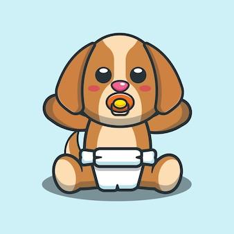 Illustrazione di vettore del fumetto del cane sveglio del bambino