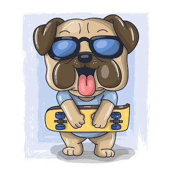 Fumetto sveglio del cane del bambino con l'illustrazione dello skateboard