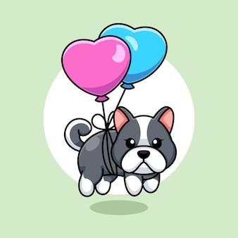 Cane sveglio del bambino che galleggia con il palloncino del cuore