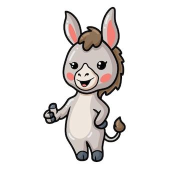 Simpatico cartone animato asino che dà pollice in su