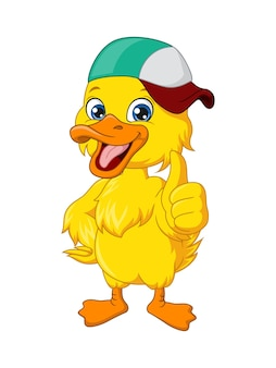 Simpatico cartone animato anatra bambino che indossa il cappello dà pollice in su