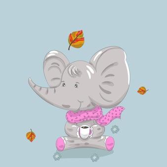 Elefante sveglio del bambino e fumetto disegnato a mano di autunno
