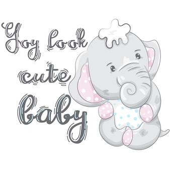 Fumetto sveglio dell'elefante del bambino disegnato a mano