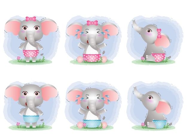 Simpatica collezione di elefanti in stile bambini
