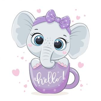 Elefante sveglio del bambino in tazza.