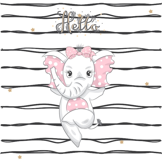 Fumetto sveglio di dancing dell'elefante del bambino disegnato a mano